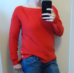 New Marled Reunited Red 3 Button Ribbed Sweater